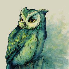 "Green Owl  by Teagan White  Art Print / MINI (8"" x 8"")  $ 16.64"