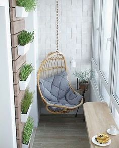 A Cozy Sun Room With A Clever Hanging Chair Added! A Great Way To Increase  The Style In Any Small Space Without Taking Away Functionality!