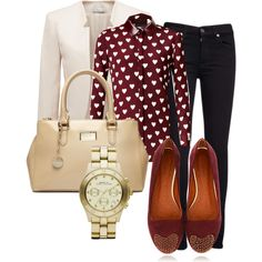 Cute heart print with fall colors. Perfect for a fall work day or a night out!