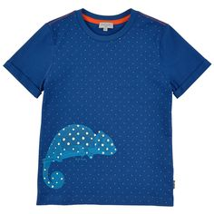 Cotton jersey T-shirt with a shine-in-the-dark print - Royal blue