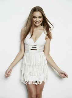 White Sexy Dress - Bqueen Metalic Tassel Sexy Bandage