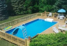 20+ Epic Above Ground Pool With Deck Ideas Above Ground Pool Prices, Rectangle Above Ground Pool, Best Above Ground Pool, Rectangle Pool, Above Ground Swimming Pools, Swimming Pools Backyard, In Ground Pools, Swimming Holes, Backyard Pool Landscaping
