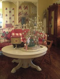 Canvases covered in vintage tablecloths