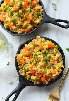 This healthy vegetarian fried rice is made with short grain brown rice, tons of veggies, and a protein-boost of egg for a delicious Asian-inspired meal!