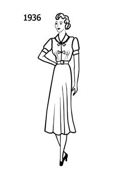 Fashion history line drawing of simple day dress 1936.