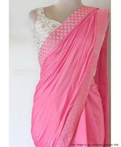 Saree is attire which offers you complete shape and because of which it makes women look amazing. On the festive occasions, Saree worn with right accessories can make you look really enthralling.This Saree is made from Paper Silk Georgette and which is le Indian Designer Sarees, Designer Sarees Online, Indian Designer Wear, Indian Sarees, Pakistani, Indian Attire, Indian Wear, Indian Dresses, Indian Outfits