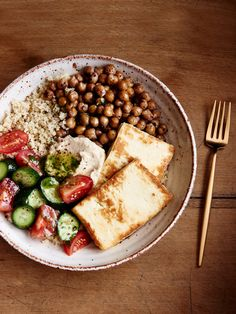 Spiced Chickpea, Couscous and Haloumi plate