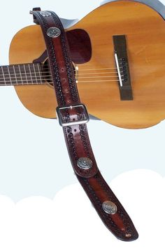 Hand-Tooled All Star Guitar Strap With Conchos