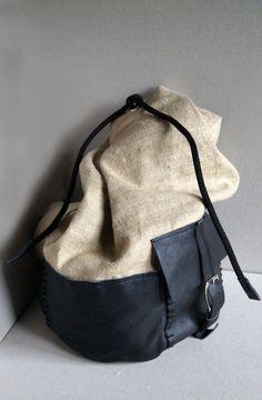 Beige backpack, school backpack, trip backpack, mens backpack, everyday backpack, black leather backpack, leather backpack, gift for him, by Malikdesign on Etsy