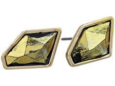 Sam Edelman Lolita Fancy Cut Stud Earrings Black Diamond/Gold