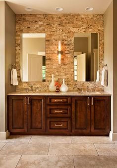 Traditional bathroom 138907969731383250 - 27 Absolutely Gorgeous Bathroom Design Ideas With Brick Walls Source by Double Sink Bathroom, Bathroom Sink Vanity, Master Bathroom, Double Sinks, Bathroom Cabinets, Double Vanity, Wood Cabinets, Wood Vanity, Bathroom Storage