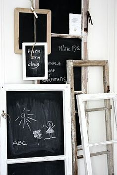 "chalkboard grouping...seriously love all of the pins on ""Home Decor"" by ""Twice Remembered""...didn't want to repin all but a great place to look for inspiration."