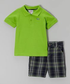 Loving this Green Skateboard Polo & Gray Plaid Shorts - Infant on #zulily! #zulilyfinds