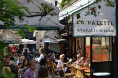 La Palette, restaurant and bar, Paris. On a Saturday night in springtime, you're most likely to find a very laid back, very good-looking, very well-dressed crowd hanging out at the time-honored brasserie, La Palette. Situated in in the backstreets of Saint Germain, spilling out onto the street with its sizable al fresco tent, Parisians willingly wait up to an hour for a table here (come by 8.30pm and you won't wait at all).