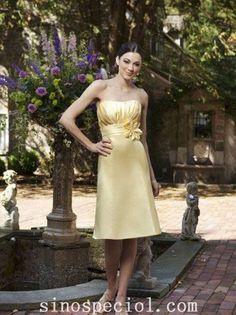 Attractive Daffodil A-line Scoop Neckline Bridesmaid Dress