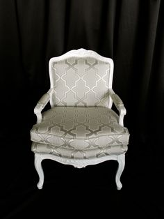 White & Silver French Arm Chair