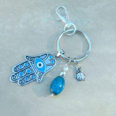 Boho Hamsa Blue Banded Jasper Keychain Ladybug by BohoEarthDesigns
