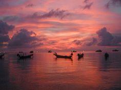 Pink sunset in Koh Tao, Thailand.