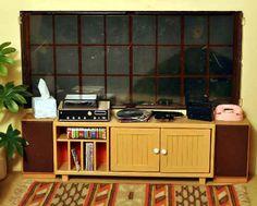Retro dollhouse record console