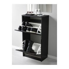 BISSA Shoe cabinet with 2 compartments, black, brown black/brown 19 1/4x36 5/8