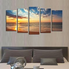 5 panelsno frame seaview modern home wall decor painting canvas art hd print - Home Decor Art
