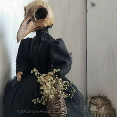 The Goode Wife of Washington County: September Inspires  ©2015StaceyMead Mourning Raven Skull doll Paper clay