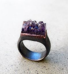Amethyst Ring, Ray of Influence, Natural Crystal Cluster #ring #jewellery