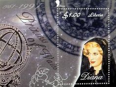 """Princess Diana """"Solemn Moment"""" Commemorative Postage Stamp Sheet Issued by Liberia, Diana - Princess of Wales 1961 - 1997."""