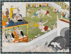 Krishna and his brother Balarama wrestling with the champions; in another scene, overturning an elephant  Maker: Unknown; miniaturist  Category: miniature (painting)  Date: circa 1800  School/Style: Kangra School