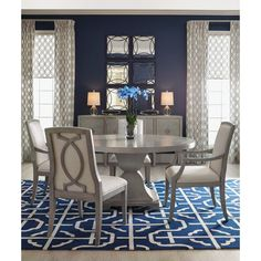Shop now and save on Bernhardt Criteria Round Dining Table and other Bernhardt Furniture at Carolina Discount Furniture. Dining Room Curtains, Upholstered Dining Chairs, Dining Room Chairs, Dining Room Furniture, Side Chairs, Dining Tables, Grey Furniture, Dining Nook, Hooker Furniture