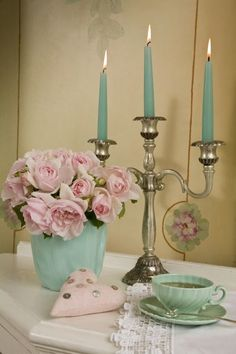 Duck egg blue & pastel pink. This is the colour palette inspo for my bedroom!