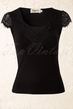 Bettie Page Clothing - Monica Lace Top in Black