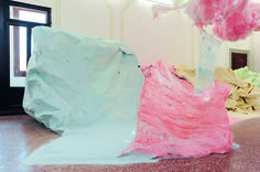 Karla Black At Fault (detail), 2011 cellophane, paint, sellotape, plaster powder, powder paint, sugar paper, chalk, bath bombs, ribbon, wood dimensions variable Courtesy the artist and Gallery Gisela Capitain. Photo: Gautier Deblonde
