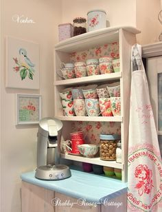 Shabby Hutch from http://shabby-roses-cottage.blogspot.it/2012/12/a-bigger-shelf-too-small.html