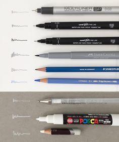 I am often asked what pens/pencils I use so here are my favourites:  1. Copic Multiliner 0.03 2. Uni pin fine liner 0.05 3. Uni pin fine liner 0.3 4. Faber Castell PITT artist brush pen  5. Staedtlar Mars Lumograph pencils 6. Faber Castell Polychromos pencils 7. Uni ball Signo white gel pen 8. Uni POSCA white pen  9. Derwent coloursoft white pencil
