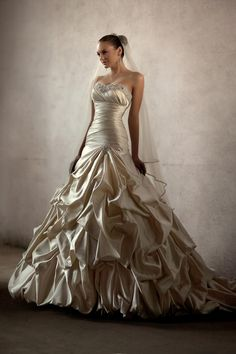 Essense of Australia #D1275: Dolce Satin Strapless drop waist gown with beading at bust and pick up skirt