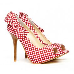 Red polka dot heels