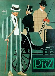 PKZ-Kehl men´s fashion (1908)    Artist : Ludwig Hohlwein  (Germany 1874-1949).