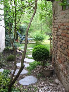 I like this winding stone path for the East side of the house (under the fruit trees)
