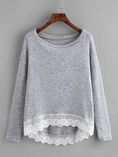 To find out about the Crochet Trim Dip Hem Heathered Tee at SHEIN, part of our latest T-Shirts ready to shop online today! Blazer Jackets For Women, Coats For Women, Clothes For Women, Fashion Now, Fashion Outfits, Fabric Paint Shirt, Casual Hijab Outfit, Crochet Trim, Cute Tops