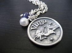 Virgo - Zodiac Charm Pendant Necklace with Sapphire
