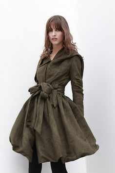 Army Green Hooded Jacket Fluffy Artificial Suede Leather Hoodie Autumn Coat long sleeves custom Women Tunic - NC436 on Etsy, $119.99