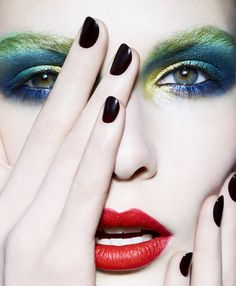 green blue yellow eye makeup Gold by Catherine Louis beauty