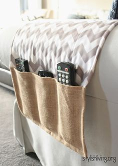 DIY remote holder for the couch.