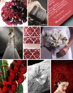 grey and red wedding decoration