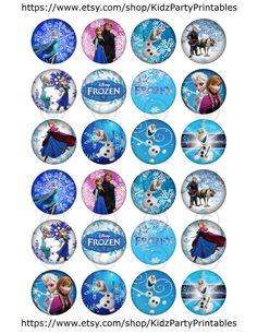 Frozen-snowflakes-winter-wintery-Elsa-Anna-Sven-Olaf-Disney-Movie-craft-Circle-Collage by KidzPartyPrintables