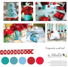 Turquoise and Red Wedding color palette : byMelissaBee