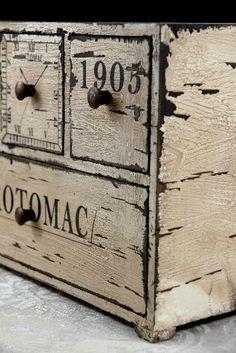 "Small Wood Chest with drawers (11"" x 8"") for craft stuff...via MaryAnne Fields Artisanal, Primitive Furniture, Funky Furniture, Painted Furniture, Wood Desk, Jewelry Chest, Jewelry Armoire, Jewellery Storage, Necklace Storage"