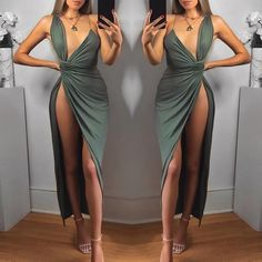 Asymmetric Ruched Deep V High Slit Maxi Dress Classy Outfits, Sexy Outfits, Chic Outfits, Sexy Dresses, Girl Outfits, Fashion Dresses, Revealing Dresses, Maxi Robes, Girl Fashion