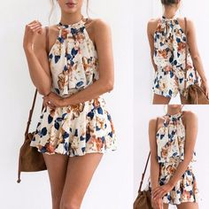 Women& Floral Print Two Piece Set Crop Top With Shorts Outfit Playsuit Romp.,Women& Floral Print Two Piece Set Crop Top With Shorts Outfit Playsuit Romper Source by carsicu. Summer Outfits Women, Short Outfits, Casual Outfits, Cute Outfits, Fashion Outfits, Summer Dresses, Outfit Summer, Summer Shorts, Casual Summer